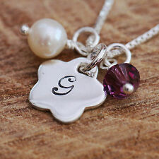 Sterling Silver Personalised Flower &Pearl Pendant Necklace &Initial &Birthstone