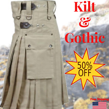 Men-handmade-Khaki-Deluxe-utility-fashion-kilt-100-Cotton-Custom-Size-32-52