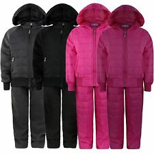 BOYS GIRLS QUILTED 2 PIECE SUIT KIDS HOODED TOP JOGGING BOTTOMS TRACKSUITS 3-14Y