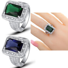 Women Sapphire / Emerald Quartz White Topaz Gemstone Silver Ring Size 7 8 9 10