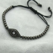 18kt Gold Plated Evil Eye & 4MM Bead Men/Women Zircon Braiding Macrame Bracelets