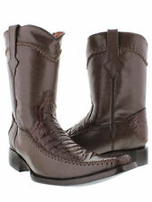 Men's Brown Crocodile Belly with Zipper Casual Dress Western Cowboy Boots