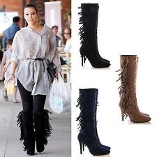 LADIES WOMENS TASSLE FRINGE FAUX SUEDE HIGH HEEL MID CALF BOOTS POINTY SHOES