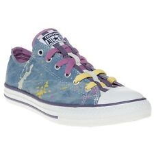 New Girls Converse Blue Multi All Star Ox Loopholes Textile Trainers Plimsolls