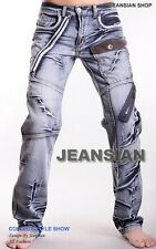 Jeansian Mens Fashion Jeans Pants Denim Multi-Zips W30 32 34 36 38 L32 J007