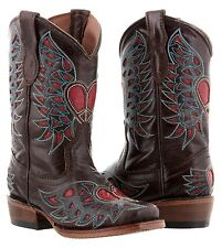 girls kids youth brown red heart wings western leather cowgirl boots rodeo ranch