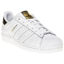 New Girls adidas White Superstar Foundation Leather Trainers Mono Lace Up