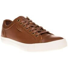 New Mens Polo Ralph Lauren Tan Geffrey Leather Trainers Lace Up