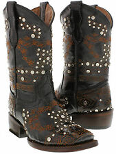 new kids girls youth black studded leather western cowboy cowgirl rodeo boots