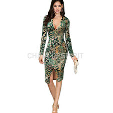 New Sexy V-Neck Women Long Sleeve Leopard Print Skirt Party Cocktail Mini Dress