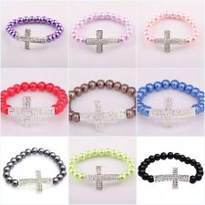 Colorful Smooth Pearl Bracelet Chain With Shiny Crystal Cross Bracelet Wedding