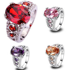 Oval Cut Amethyst Morganite Ruby Spinel Pink White Topaz Gemstone Silver Ring