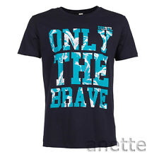 DIESEL T-BURT ONLY THE BRAVE Navy Mens T-Shirt Cotton Branded Graphic Front BNWT