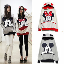 Womens Mickey/Minnie Mouse Hoodie Sweatshirt Jumper Hooded Pullover Tops T Shirt
