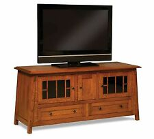 Amish Mission Craftsman Colbran TV Stand Solid Wood Console Cabinet Storage 61""