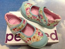 Pediped Flex Bree Blue Floral V Mary Janes Size 24-29/US Toddler Size 8-12