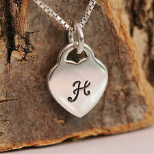 925 Sterling Silver Love Heart Pendant Necklace &Personlised Initial w Gift Box