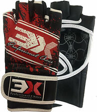 3XSports Leather Grappling Gloves MMA Muay Thai Kick Boxing UFC Punch Training R