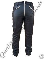 MENS LEATHER JEANS CHAPS BREECHES PANTS TROUSERS BLUFF BIKER GOTHIC GAY XXL/46