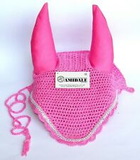 FLY VEIL EAR NET HORSE EQUESTRIAN PINK WITH CRYSTAL FULL/COB/PONY FROM AMIDALE