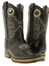 Boys Kids Youth Smooth Black Real Leather Western Cowboy Boots Toddler New