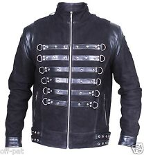 Black GOTH NUBUCK & TOP GRAIN LEATHER COAT Mans Rock Steampunk Punk Jacket