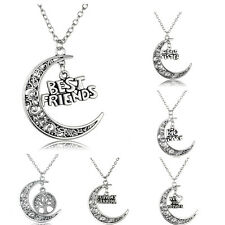 Hollow Out Moon Charm Necklace Pendant Family Member Gift Letter Wife Mother