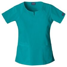 Cherokee Workwear Scrub Short Sleeve Round Neck 4824 TLBW Teal Blu Free Shipping