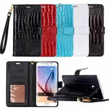 For Samsung Galaxy S7 Edge Glossy Crocodile Skin Leather Flip Wallet Stand Case