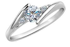 White Gold Plated Wedding Jewelry Rings Crystal Engagement Silver Zircon CZ