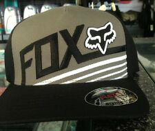 "FOX MENS SIZE CAP ""BECOME"" FLEX FIT MX MOTORCROSS SKATE ROUNDED PEAK BLACK"