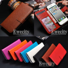 Genuine Leather Skin Flip Stand Wallet Case Cover For Apple iPhone 5 5G 5S