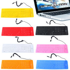 Waterproof Portable Soft Flexible Silicone Keyboard for PC Laptop 109 Keys O8