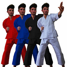 White Black Red and Blue Poly cotton Adults/Kids Karate Suit martial art 7 Oz.