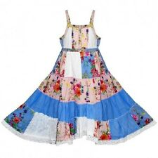 Girls Domino Girl Floral Patchwork Summer Dress 3-11 years Lace Party Sundress
