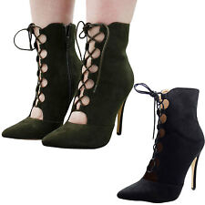 New Ladies Lace Up High Heel Stiletto Womens Party Point Toe Ankle Boots Shoes
