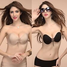 Lady Invisible Self-Adhesive Reusable Pushup Prom Wedding Backless Strapless Bra