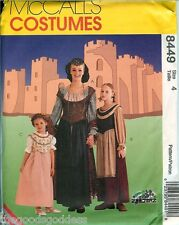 McCalls 8449 Medieval Gowns sewing pattern UNCUT Girls Womens dress renaissance