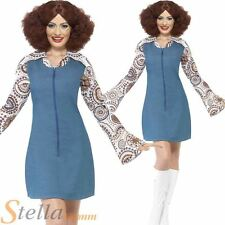 Ladies Groovy Dancer Costume 60s 70s Retro Hippy Disco Fancy Dress Adult Outfit