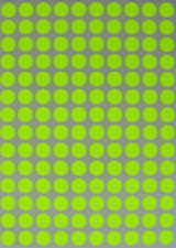 Yellow Neon Color Coding Stickers 10 mm 3/8 inch labels circular dots sheet pack