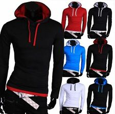 New Stylish Men Casual Tops Long Sleeve Hooded T-shirts Fit Sweatshirt Tee Shirt