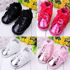 Cute Rose Silk Ribbon Baby Girl's Sports Lace Up Baby Infant Toddler Shoes0-1Y