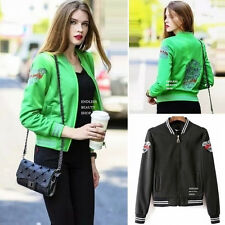 Embroidered Bomber Jacket Women Baseball Coat Biker Embroidery Stripe Trim Silm