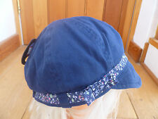 MARKS AND SPENCER NAVY BLUE FLOWER TRIM BOW BAKER BOY SUMMER SUN HAT 3 6 14 YR