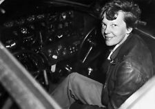 Art print POSTER Amelia Earhart in the Cockpit of an Airplane