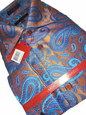 Mens High Collar Leonardi Shirt Edition 396 Shiny Burnt Orange Luxurious Paisley