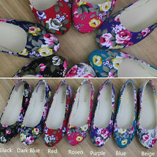New Womens Round Toe Ballet Flat Shoes Retro Fabric Print Flower Detail 4.5-7.5