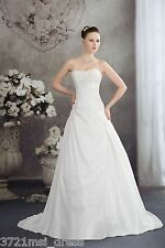 New White/Ivory Strapless A-line Beaded Wedding Dress Bridal Gown Custom Size