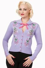 NEW BANNED LILAC CHERRIES FLORAL 1950S ROCKABILLY RETRO VINTAGE CARDIGAN 10-16