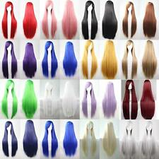 80cm Lady Full Wig Long Straight Wig Cosplay Party Costume Anime Hair Weft